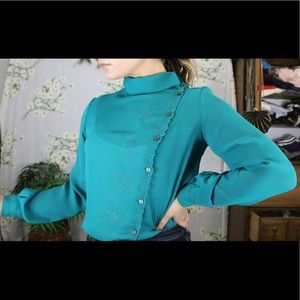 VINTAGE teal floral embroidered button blouse